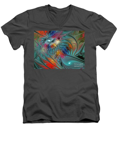 Fresh Mints And Cool Blues-abstract Fractal Art Men's V-Neck T-Shirt