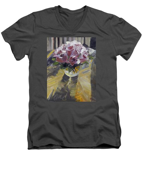 Men's V-Neck T-Shirt featuring the painting Fresh by Pattie Wall