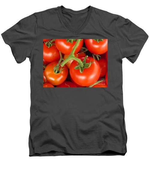 Men's V-Neck T-Shirt featuring the photograph Fresh Whole Tomatos On Vine by David Millenheft