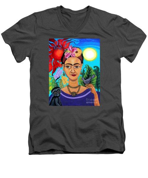 Frida Kahlo With Monkey And Bird Men's V-Neck T-Shirt