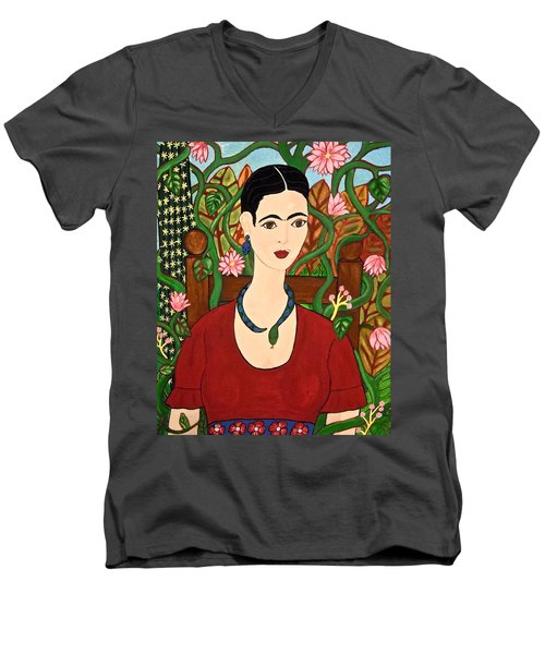 Frida With Vines Men's V-Neck T-Shirt by Stephanie Moore