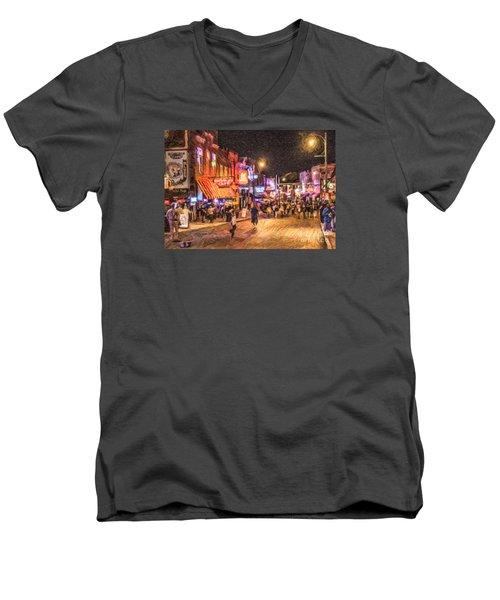Friday Night On Beale Men's V-Neck T-Shirt by Liz Leyden