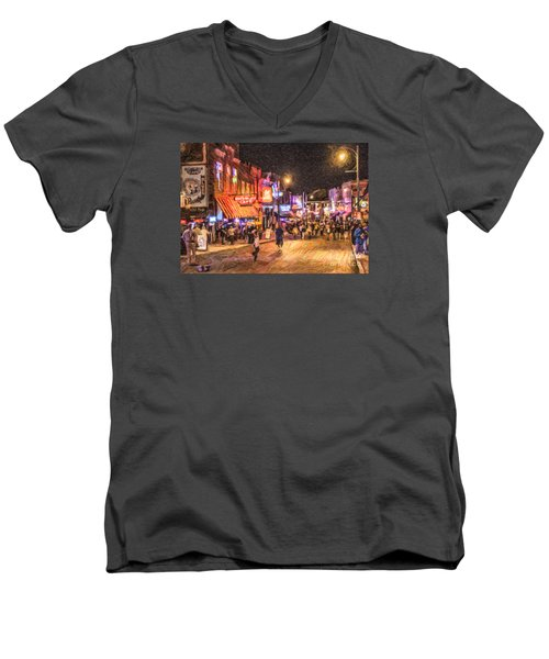 Friday Night On Beale Men's V-Neck T-Shirt