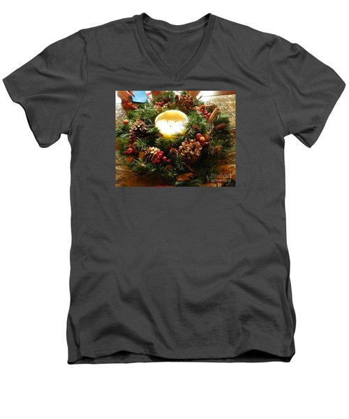Friendly Holiday Reef Men's V-Neck T-Shirt by Robin Coaker