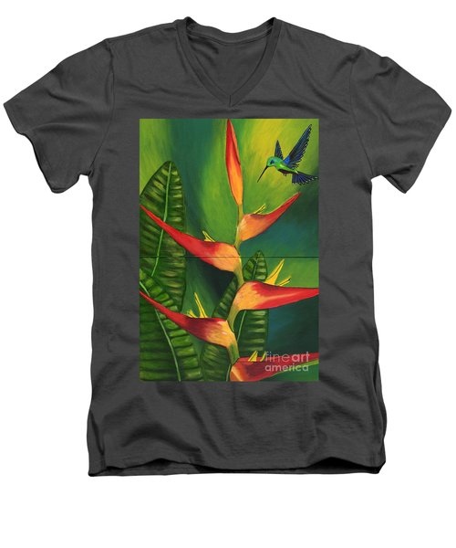 Men's V-Neck T-Shirt featuring the painting Friendship by Laura Forde