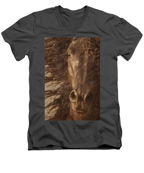 Friesian Spirit Men's V-Neck T-Shirt by Melinda Hughes-Berland