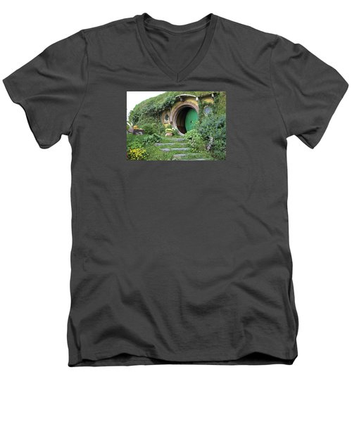 Frodo Baggins Lives Here Men's V-Neck T-Shirt by Venetia Featherstone-Witty