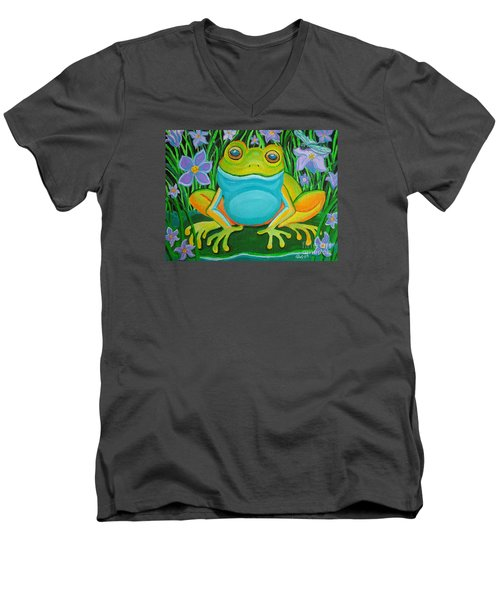 Frog On A Lily Pad Men's V-Neck T-Shirt by Nick Gustafson