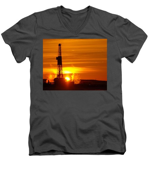 Frontier Nineteen Xto Energy Culbertson Montana Men's V-Neck T-Shirt by Jeff Swan