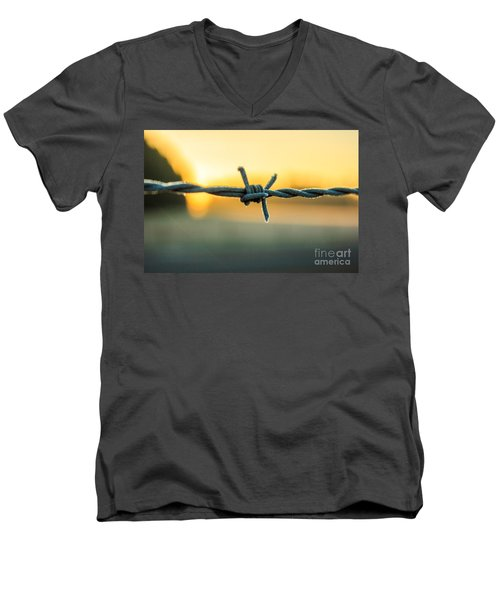 Frost On Barbed Wire At Sunrise Men's V-Neck T-Shirt