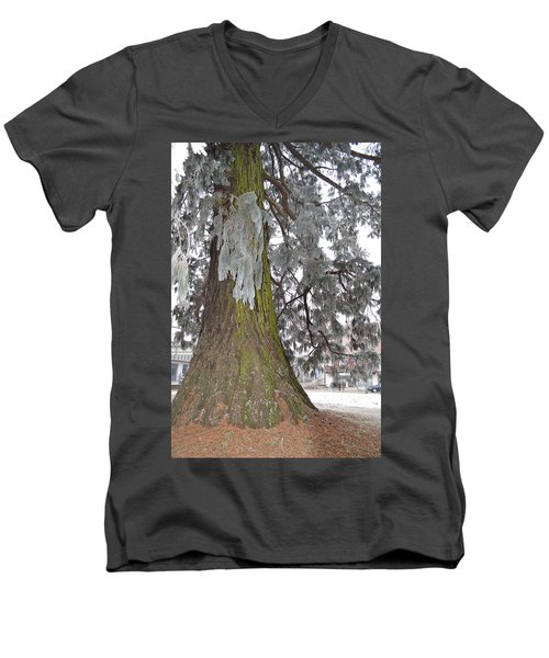 Men's V-Neck T-Shirt featuring the photograph Frost On The Leaves by Felicia Tica
