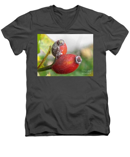 Men's V-Neck T-Shirt featuring the photograph Frosted Rosehips by Nina Silver