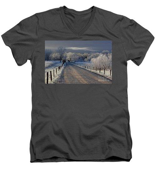 Frosty Sparks Lane Men's V-Neck T-Shirt by Douglas Stucky