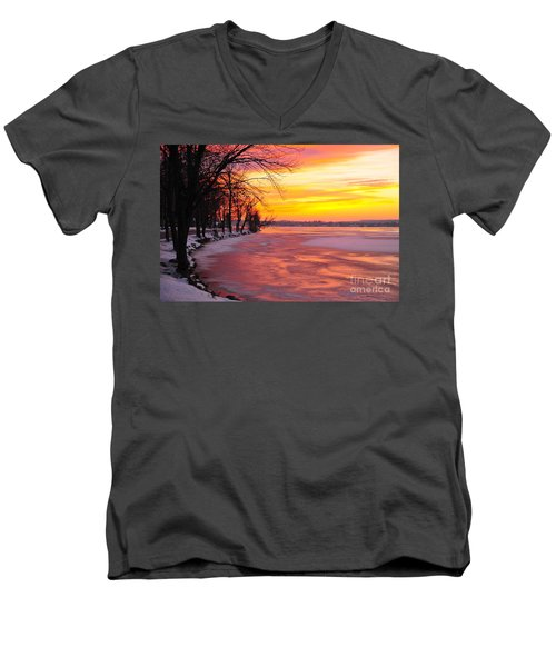 Men's V-Neck T-Shirt featuring the photograph Frozen Dawn At Lake Cadillac  by Terri Gostola