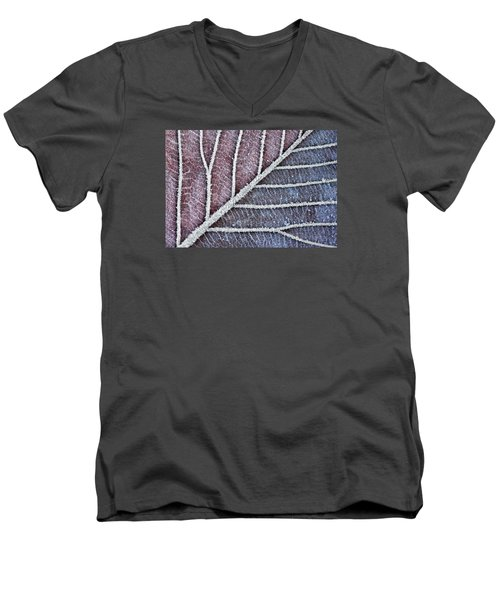 Men's V-Neck T-Shirt featuring the photograph Frozen Leaf In Christmas Clolors by Dreamland Media