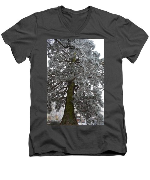 Men's V-Neck T-Shirt featuring the photograph Frozen Tree 2 by Felicia Tica