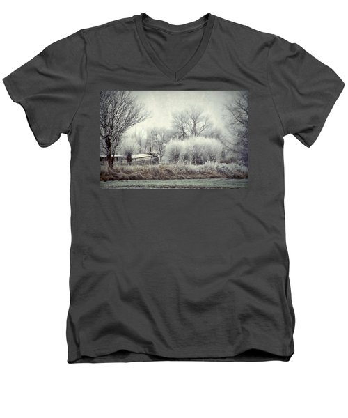 Men's V-Neck T-Shirt featuring the photograph Frozen World by Annie Snel