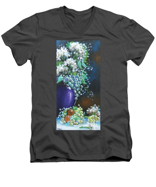 Men's V-Neck T-Shirt featuring the painting Fruit And Flowers Still Life by Patrice Torrillo