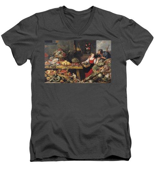 Fruit And Vegetable Market Oil On Canvas Men's V-Neck T-Shirt by Frans Snyders