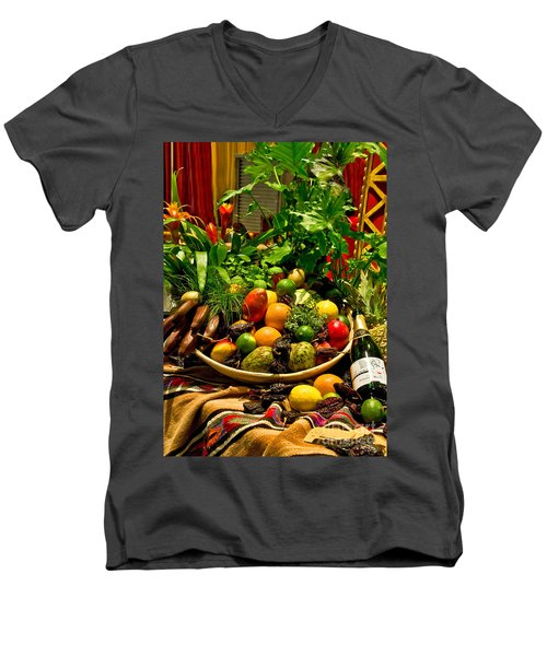 Men's V-Neck T-Shirt featuring the photograph Fruit And Wine by Mae Wertz