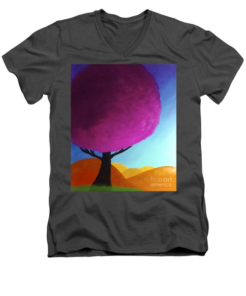 Men's V-Neck T-Shirt featuring the painting Fuchsia Tree by Anita Lewis