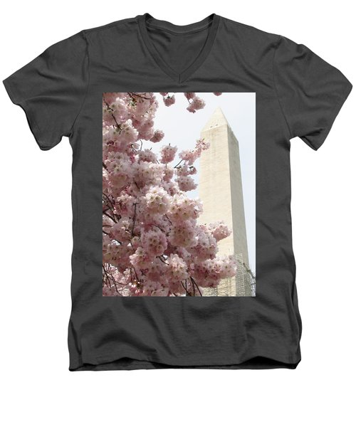 Men's V-Neck T-Shirt featuring the photograph Full Bloom In Dc by Jennifer Wheatley Wolf