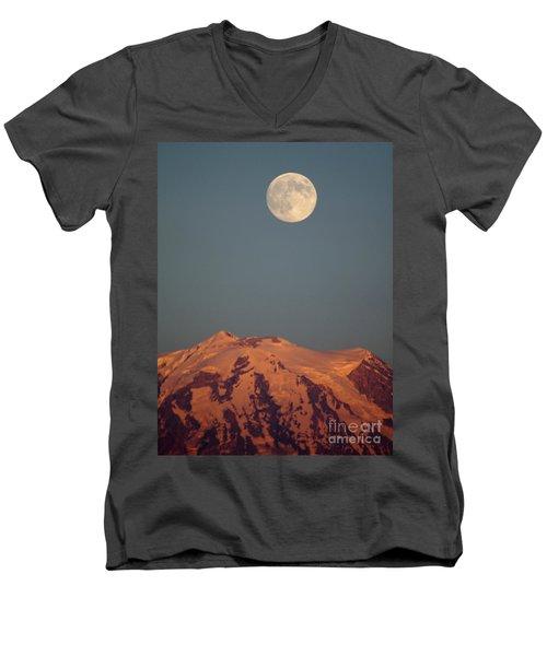 Full Moon Over Mount Rainier Men's V-Neck T-Shirt