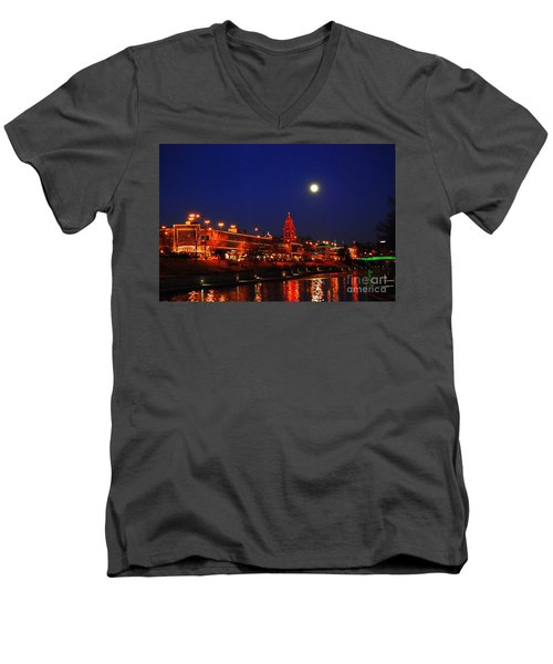 Full Moon Over Plaza Lights In Kansas City Men's V-Neck T-Shirt by Catherine Sherman