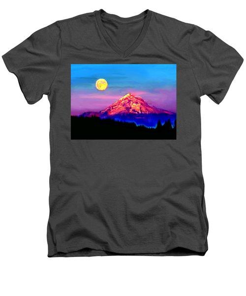 Full Moon Rising Over Mount Hood Oregon Men's V-Neck T-Shirt