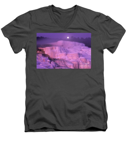 Full Moon Sets Over Minerva Springs On A Winter Morning Yellowstone National Park Men's V-Neck T-Shirt