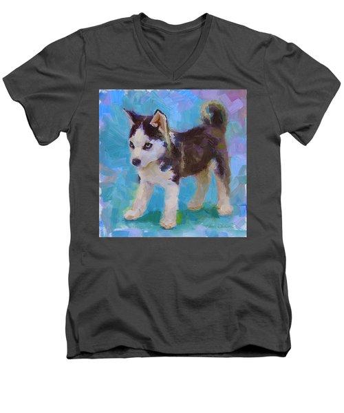 Alaskan Husky Sled Dog Puppy Men's V-Neck T-Shirt