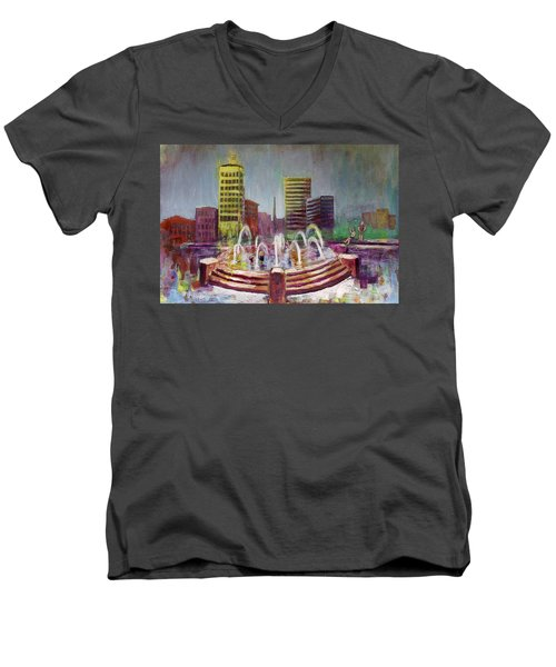 Fun In The Fountain In Asheville Men's V-Neck T-Shirt by Gray  Artus