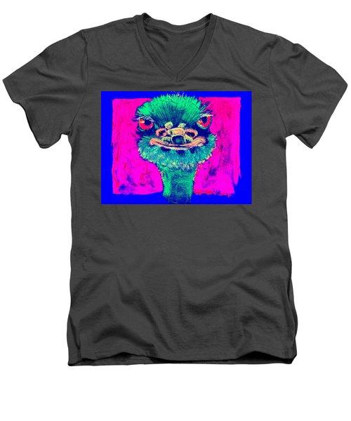 Funky Ostrich Cool Dude Art Prints Men's V-Neck T-Shirt