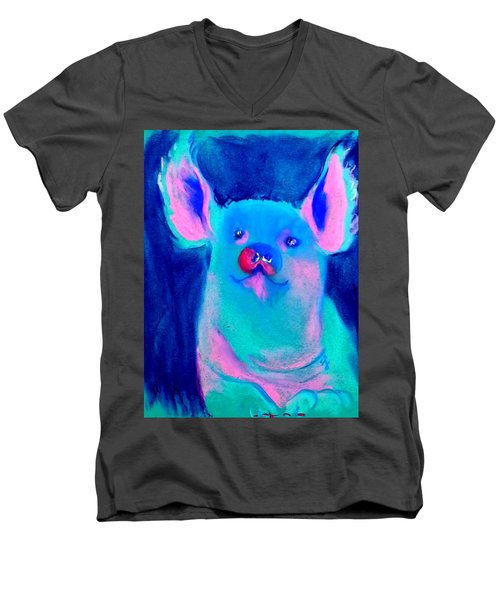 Funky Piggy Blue Men's V-Neck T-Shirt