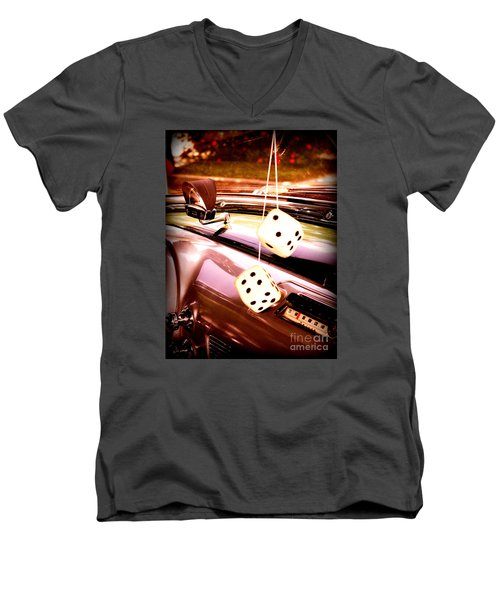 Men's V-Neck T-Shirt featuring the digital art Fuzzy Dice by Valerie Reeves