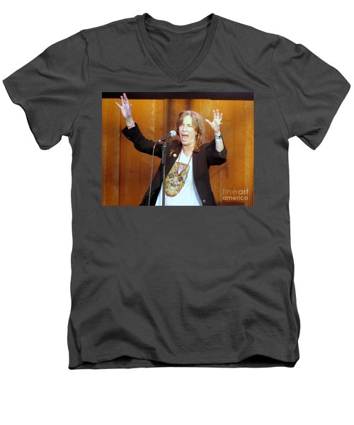 Men's V-Neck T-Shirt featuring the photograph G-l-o-r-i-a by Ed Weidman