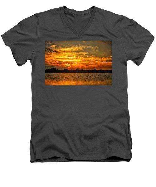 Galveston Island Sunset Dsc02805 Men's V-Neck T-Shirt by Greg Kluempers