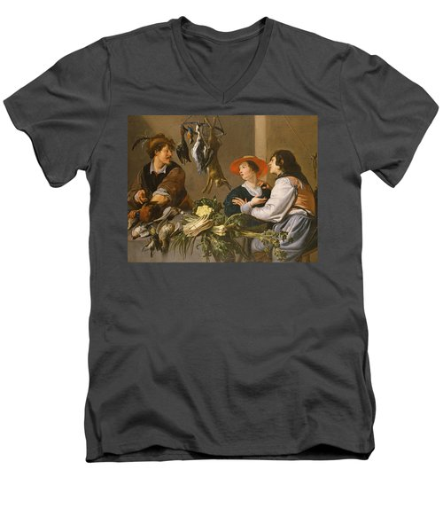 Game And Vegetable Sellers Oil On Canvas Men's V-Neck T-Shirt by Theodor Rombouts