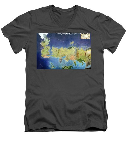 Game Of Thrones World Map Men's V-Neck T-Shirt by Gianfranco Weiss