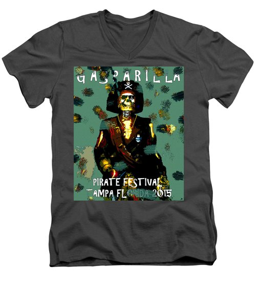 Gasparilla Pirate Fest 2015 Full Work Men's V-Neck T-Shirt