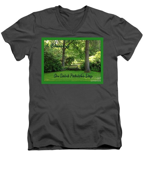 Garden Bench On Saint Patrick's Day Men's V-Neck T-Shirt
