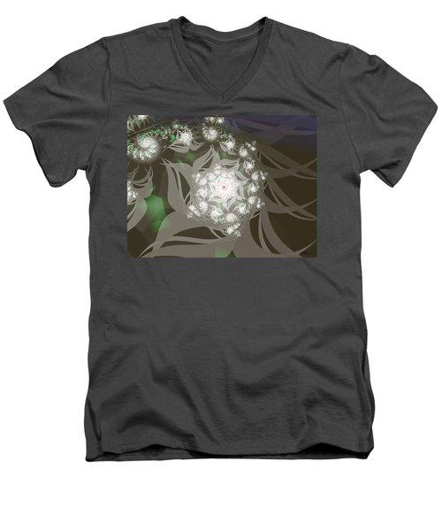 Men's V-Neck T-Shirt featuring the digital art Garden Echos by Elizabeth McTaggart