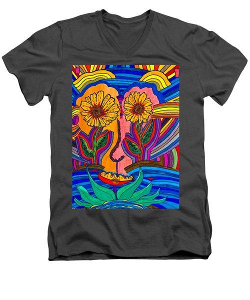 Garden Face - Lotus Pond - Daisy Eyes Men's V-Neck T-Shirt