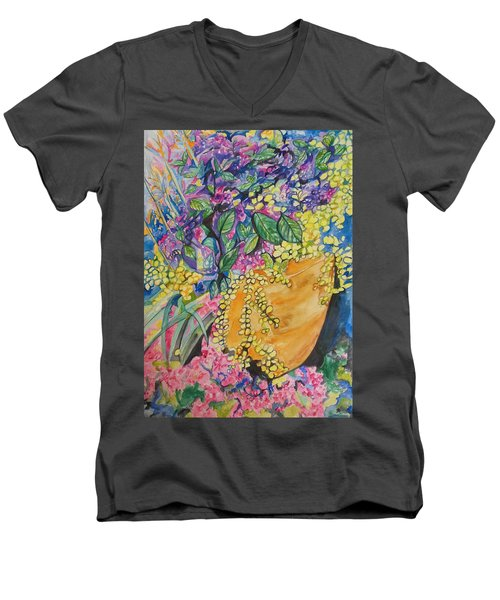 Men's V-Neck T-Shirt featuring the painting Garden Flowers In A Pot by Esther Newman-Cohen