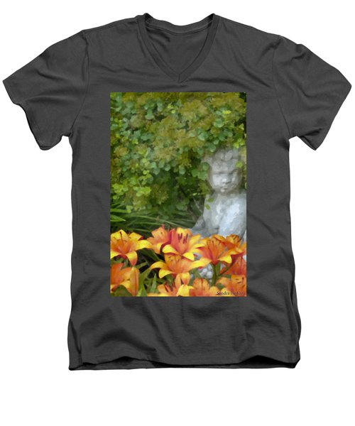 Men's V-Neck T-Shirt featuring the photograph Garden Girl And Orange Lilies Digital Watercolor by Sandra Foster