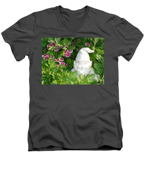 Men's V-Neck T-Shirt featuring the photograph Garden Gnome by Charles Kraus