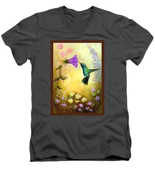 Men's V-Neck T-Shirt featuring the mixed media Garden Guest In Brown by Terry Webb Harshman