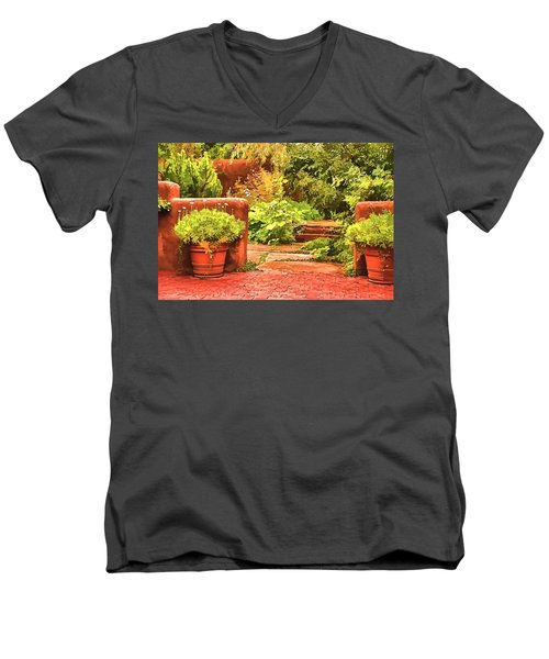 Men's V-Neck T-Shirt featuring the painting Garden by Muhie Kanawati