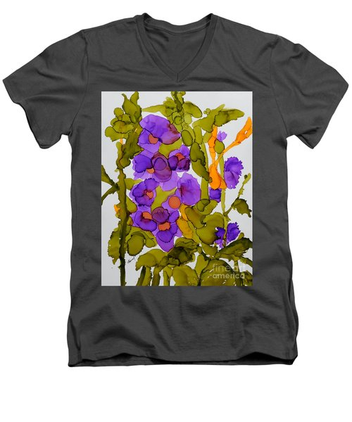 Garden Of Hollyhocks Men's V-Neck T-Shirt