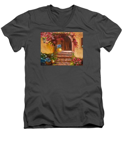 Men's V-Neck T-Shirt featuring the painting Garden Of Serenity by Jenny Lee